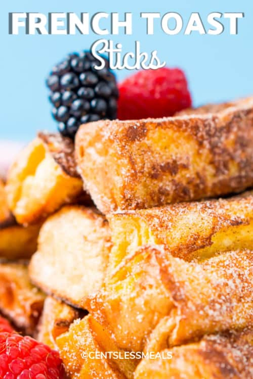 Cinnamon Sugar French Toast Sticks on a white plate with a title.