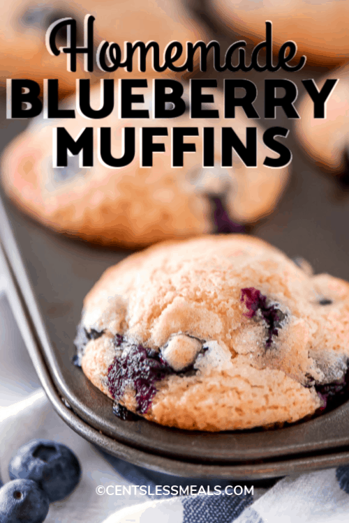 Homemade Blueberry Muffins in a muffin tin, with a title.