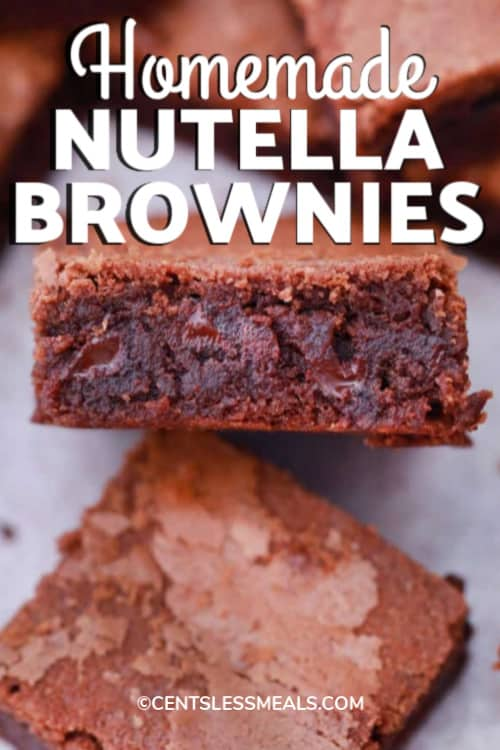 A Nutella brownie on it's side surrounded by other brownie squares with writing.