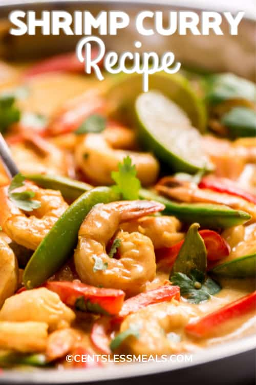 Shrimp Curry Recipe in a pan garnished with cilantro and a title.