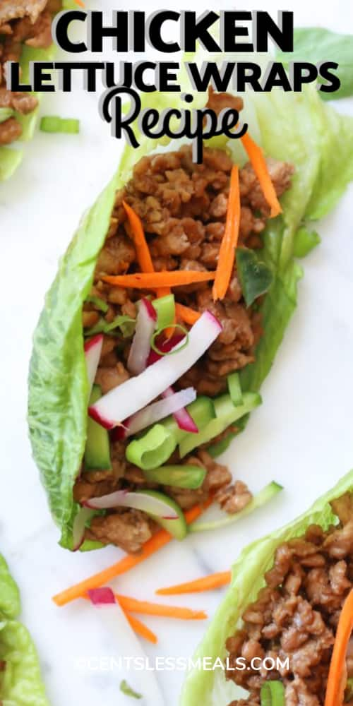 Chicken Lettuce Wraps Recipe with a title.