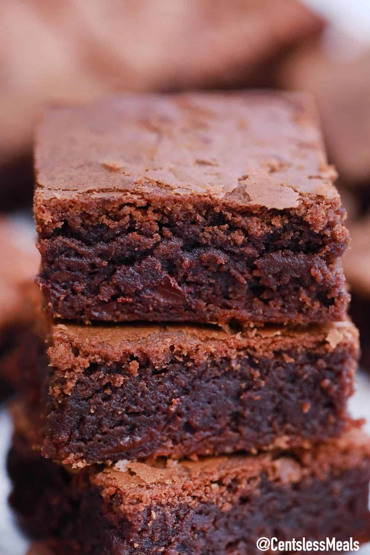 Nutella Brownies stacked together