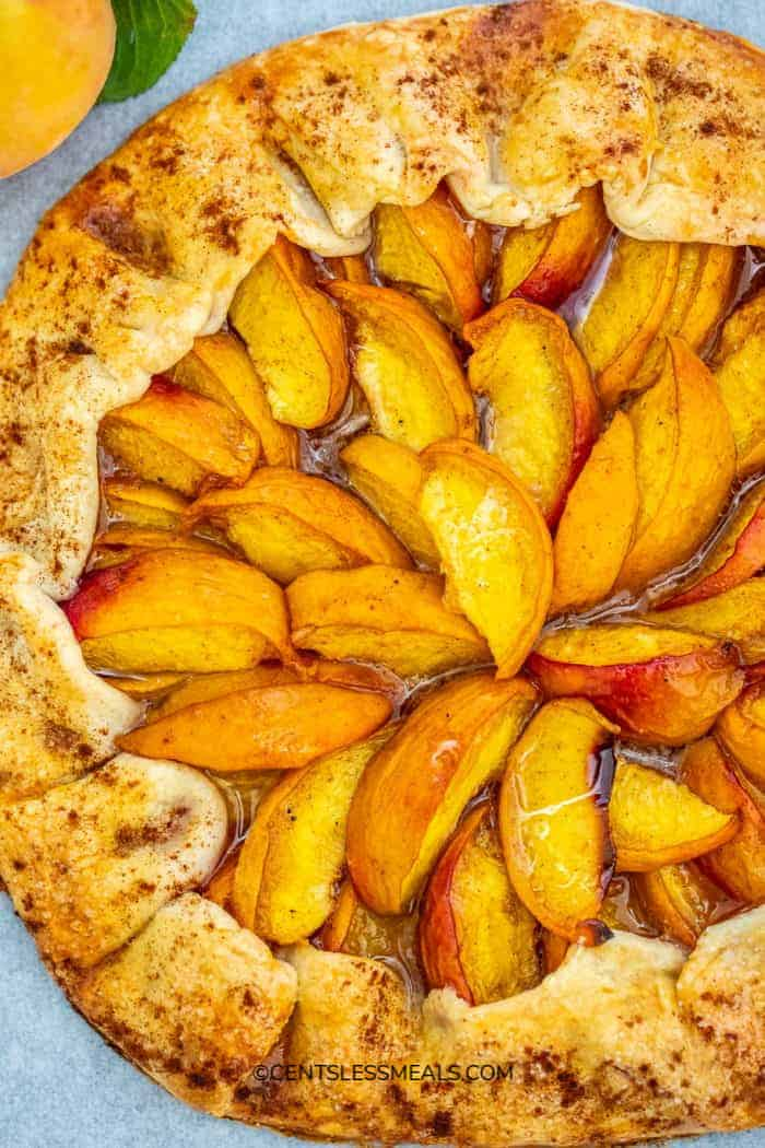 Baked Peach Galette on a serving tray.