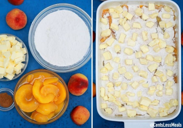 Ingredients to make Peach Dump Cake beside the dump cake assembled in a baking dish.