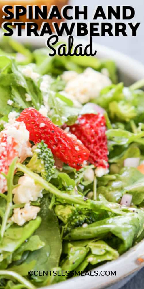 Spinach and strawberry salad in a bowl topped with cheese with writing.