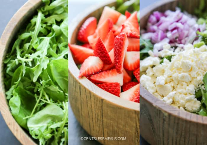 Images of greens, strawberries and feta cheese for spinach and strawberry salad