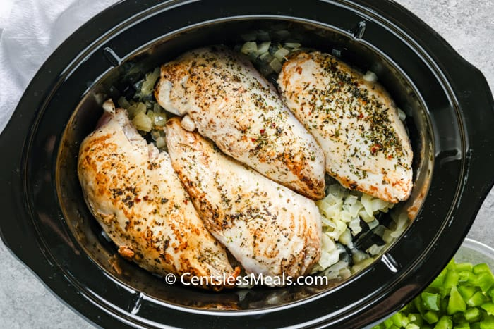 Ingredients to make Creamy Crock Pot Chicken in the crockpot
