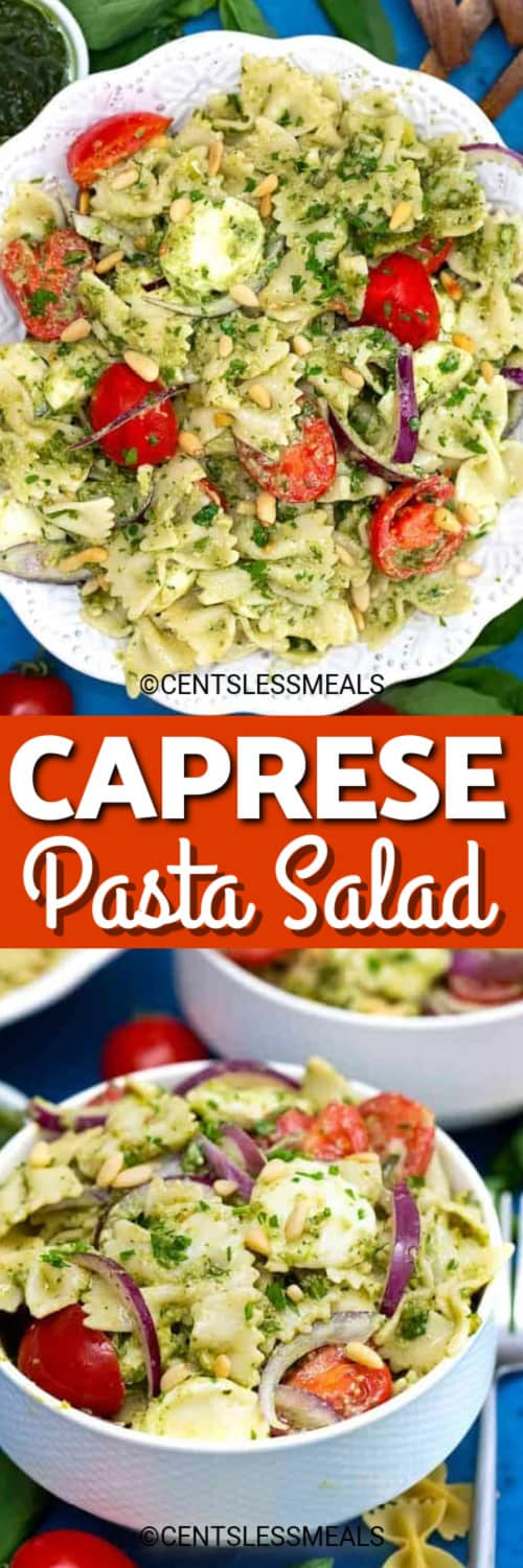 Caprese pasta salad with tomatoes in a white bowl, and Caprese salad with pasta and pesto under the title.