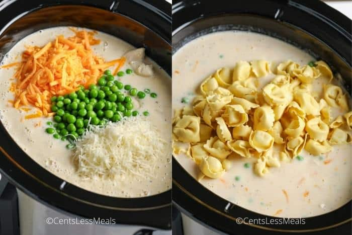 process of adding ingredients to crockpot to make Crockpot Chicken Tortellini