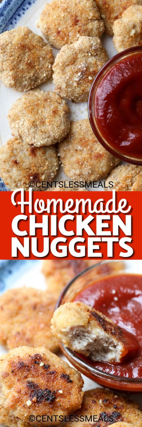 Homemade chicken nuggets on a plate with ketchup, and one nugget in a bowl of ketchup under the title.