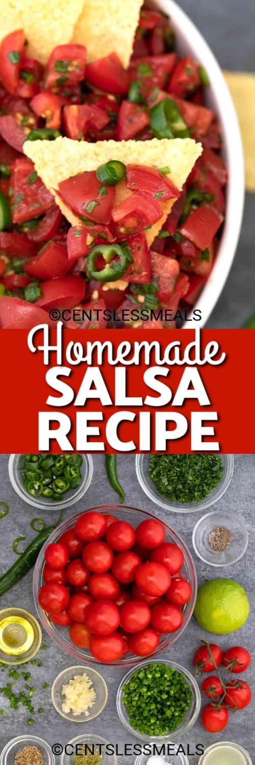 Fresh Salsa on a tortilla chip, and ingredients to make this homemade salsa recipe under the title.