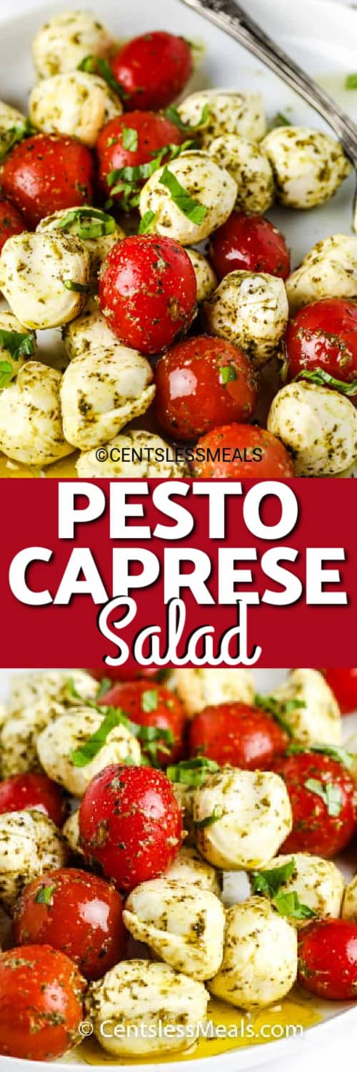Pesto Caprese Salad on a plate with a title