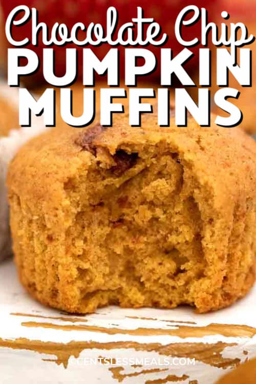 A Pumpkin Muffin with a bite taken out, with writing.
