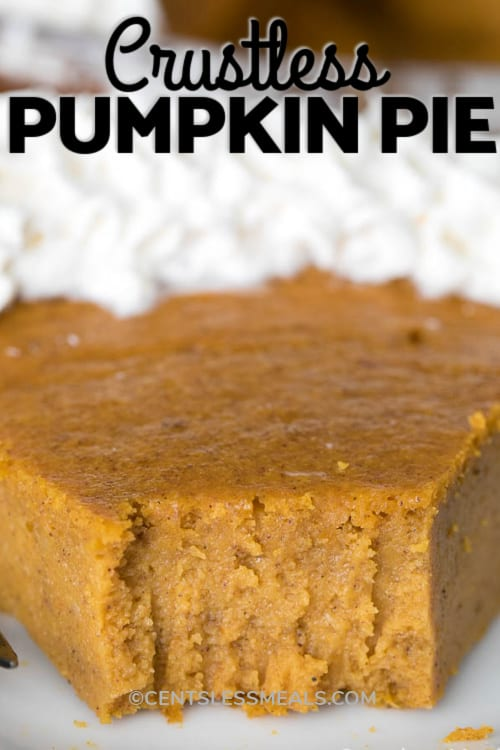 A slice of the best pumpkin pie (no crust) with a bite taken out of it, with a title.