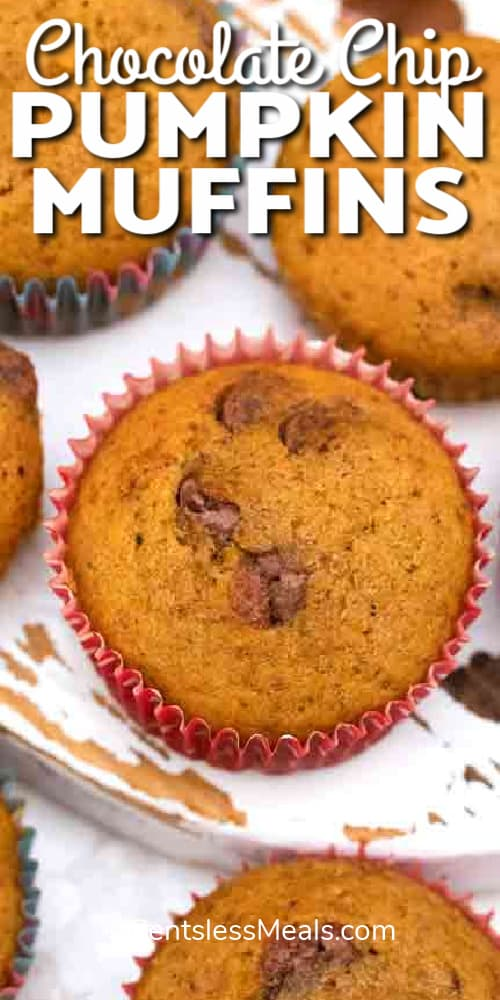 Pumpkin Muffins with chocolate chips on a board, with writing.