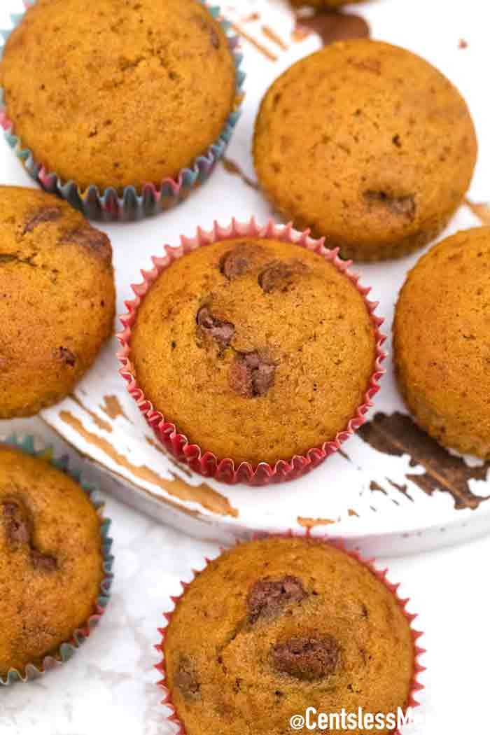 chocolate chip pumpkin muffins on a white board