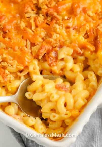 close up of cooked Creamy Macaroni & Cheese Casserole in a dish