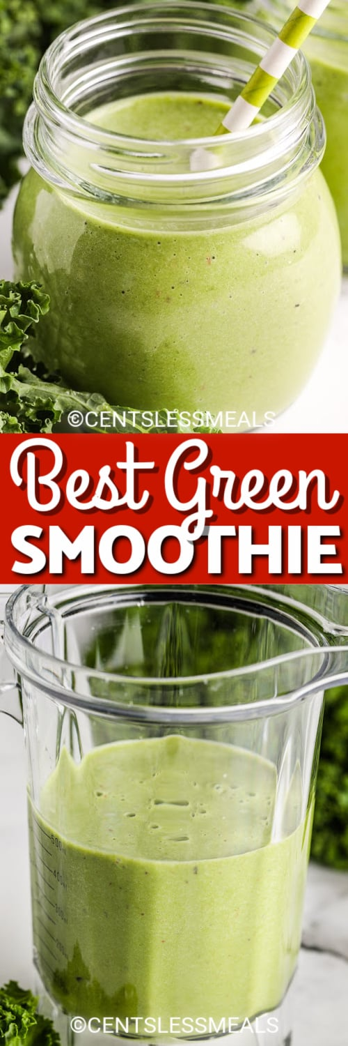 Green Smoothie in a glass with a striped straw, and Green Smoothie in a blender under the title