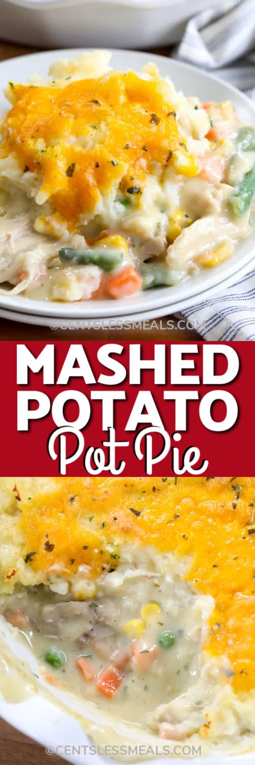 Turkey Pot Pie on a white plate, and Mashed Potato Pot Pie in a pie dish with a scoop taken out under the title.