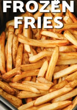 Air Fryer Frozen Fries with writing