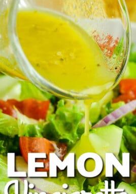 Lemon Vinaigrette poured over top of salad with a title