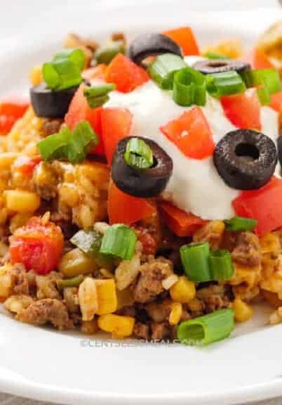 Taco Casserole served on a white plate