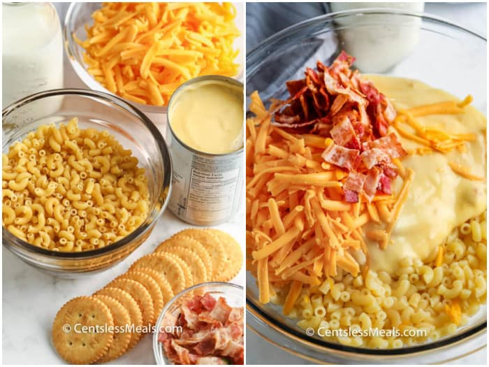 Ingredients assembled to make Creamy Baked Mac and Cheese, and ingredients in a clear bowl.