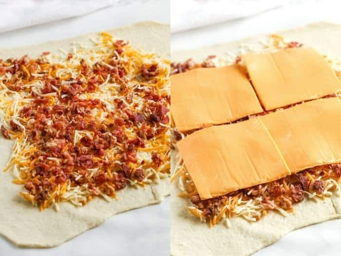 process of adding ingredients to make Oven Baked Grilled Cheese