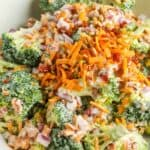 Broccoli Salad with cheese on top