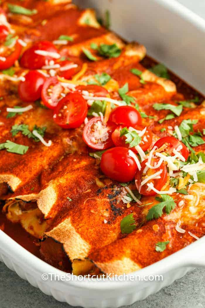 close up of Chicken Enchiladas after cooking