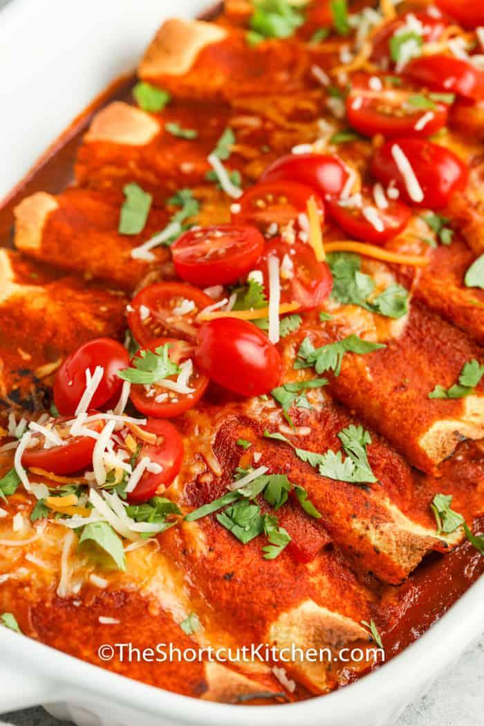 close up of Chicken Enchiladas in a dish