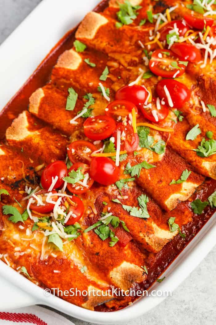 Chicken Enchiladas in a dish