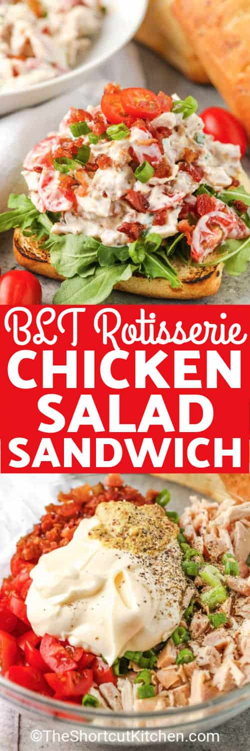an open faced chicken salad sandwich, and ingredients to make this easy chicken salad under the title.