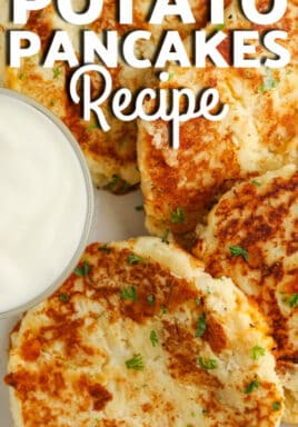 Mashed Potato Pancakes arranged on a white plate with dip and a title