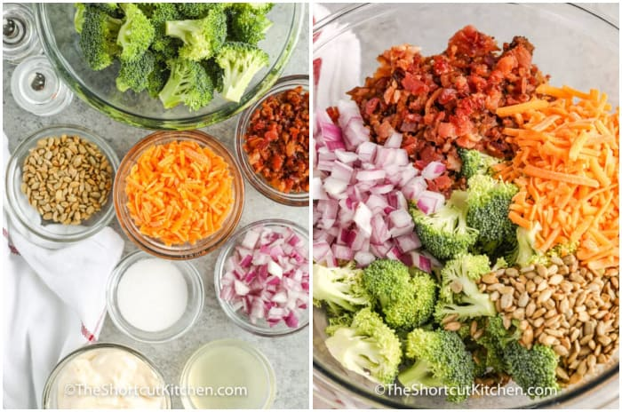 ingredients to make broccoli salad, and the salad assembled in a clear mixing bowl