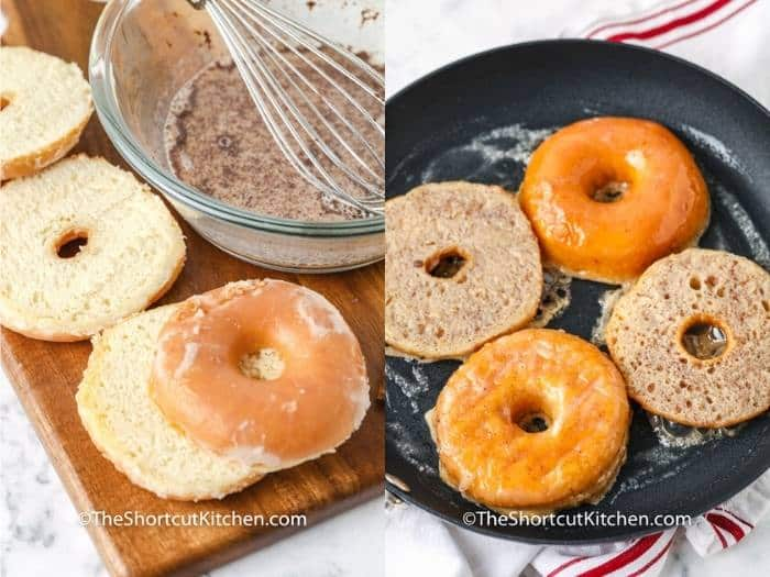 process of cutting and cooking Glazed Donut French Toast