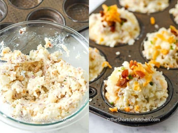 process of mixing and adding Loaded Mashed Potato Cups to muffin tin