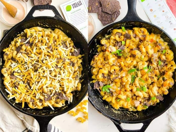 process of cooking and adding ingredients to pan to make Nacho Mac N' Cheese