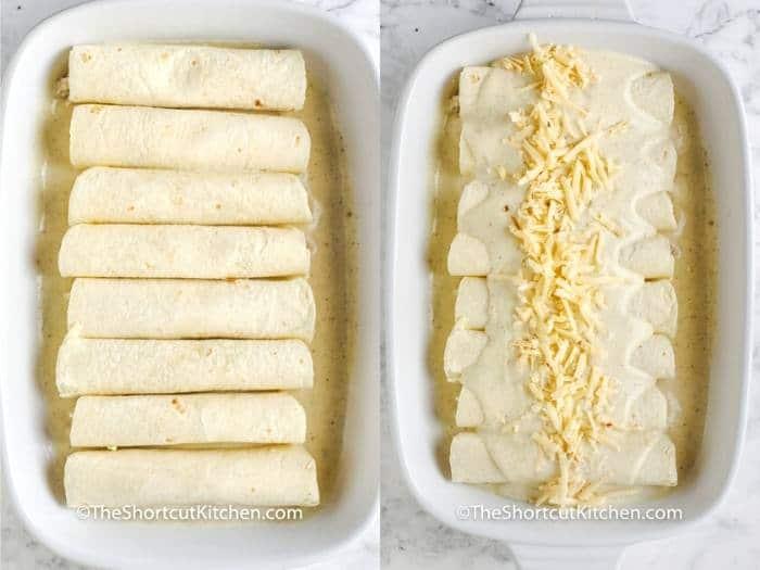 process of adding ingredients to pan to make Sour Cream Chicken Enchiladas
