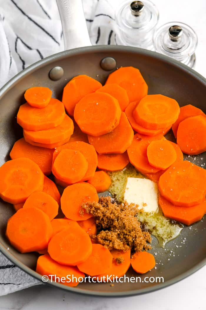 putting ingredients in pan to make Brown Sugar Carrots