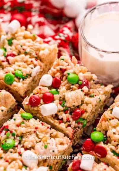 close up of Christmas Rice Krispie Treats