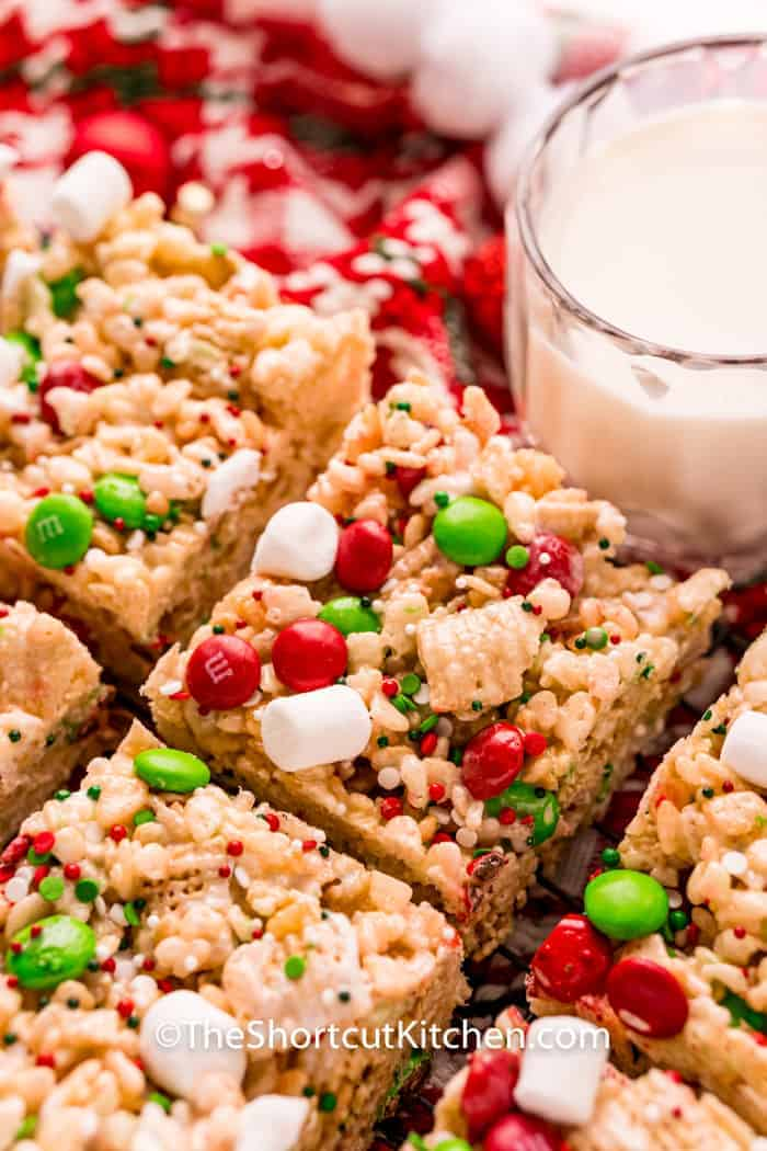 close up of Christmas Rice Krispie Treats