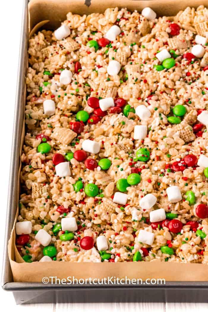 Christmas Rice Krispie Treats in a baking pan