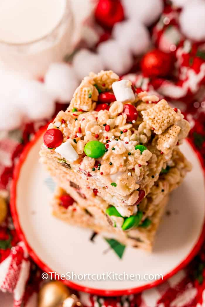 pile of Christmas Rice Krispie Treats on a plate