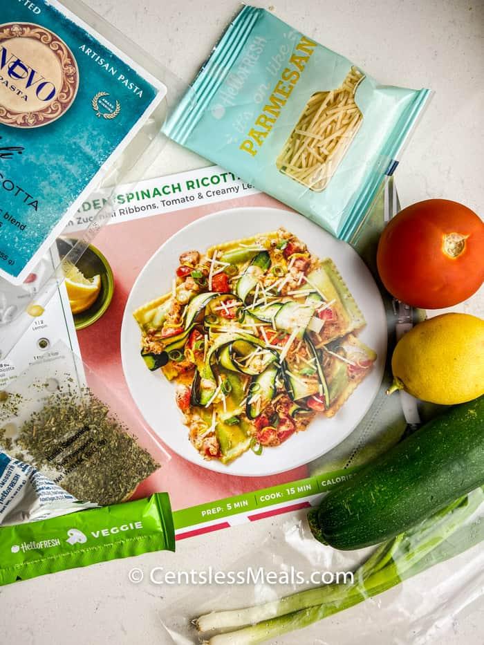ingredients and recipe to make Garden Spinach Ricotta Ravioli