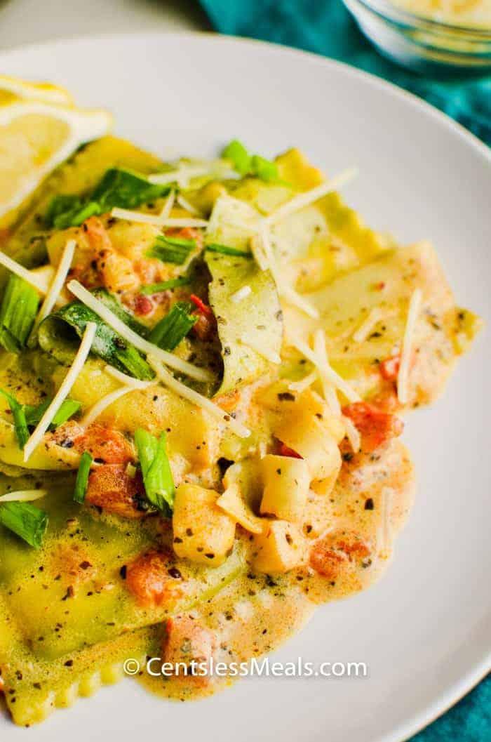 Garden Spinach Ricotta Ravioli on a white plate