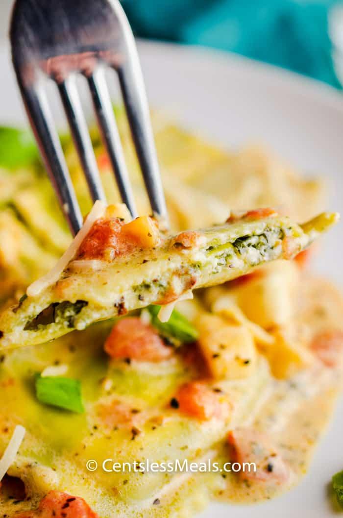 Garden Spinach Ricotta Ravioli on a fork
