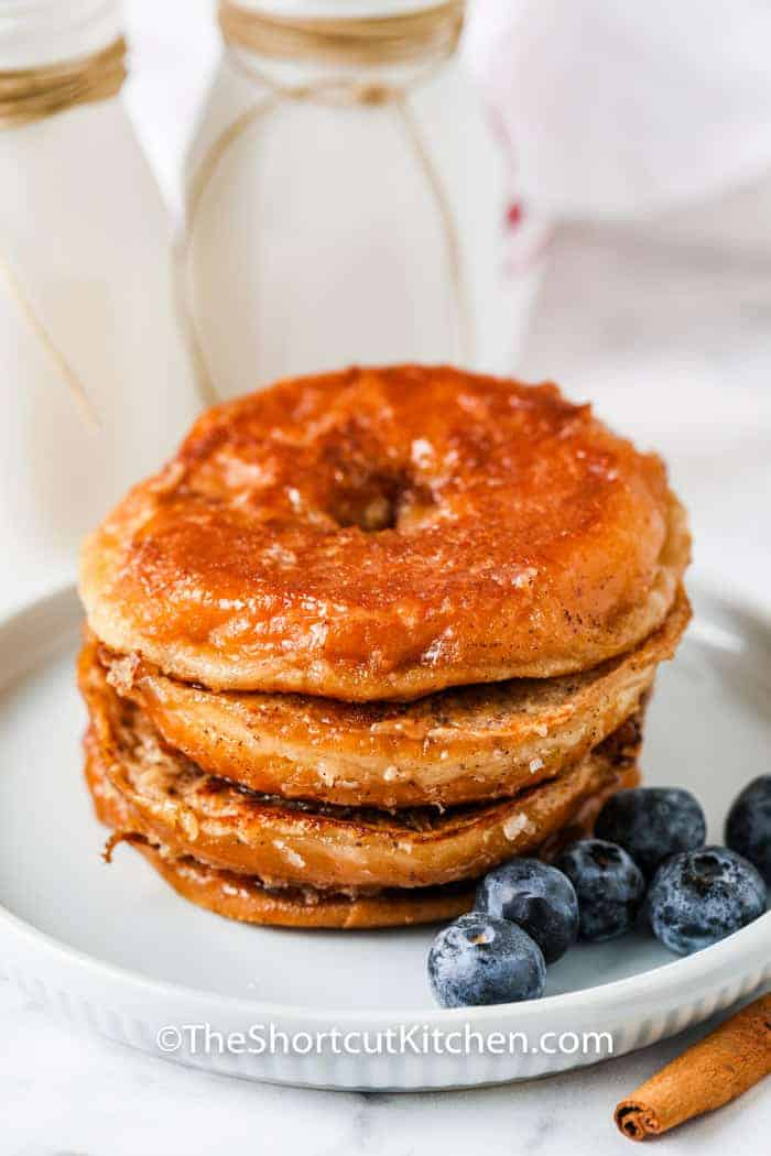 plated Glazed Donut French Toast with blueberries