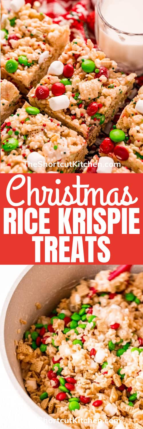 ingredients to make Christmas Rice Krispie Treats with finished squares and a title