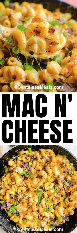 Nacho Mac N' Cheese in pan with writing
